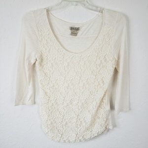 Lucky Brand | Lace Front 3/4 Sleeve top Size Small